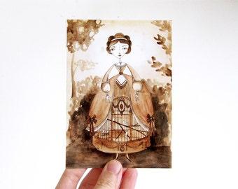 Women's Fantasy Fashions - Postcard, watercolor illustration, Birdcage dress, wild headdress, cage chest, sepia painting, carte postale