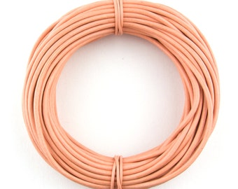 Peach Round Leather Cord 1mm, 10 meters (11 yards)