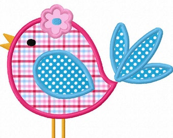 Instant Download Cute Bird Applique Machine Embroidery Design NO:1292