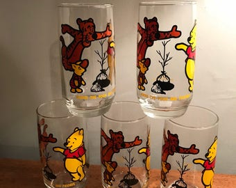 Vintage Winnie the Pooh Glass Tumblers - Complete Set