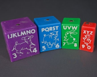 vintage plastic bells | ABCs and 123s | stackable multi-colored blocks