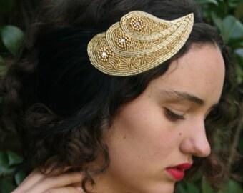 Gold 1920s headband, gold great gatsby headband, black feather headpiece, rhinestone headband beaded flapper fascinator 1920s