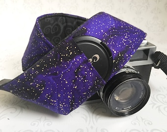 Vintage Style DSLR Camera Strap, Padded, Lens Cap Pocket, Nikon, Canon, DSLR Photography, Photographer Gift - Purple Galaxy & Black Scroll