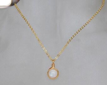 Moonstone Necklace , Simple Rainbow Moonstone , Gemstone Necklace , June Birthstone Necklace