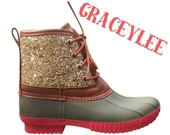 Kids Glitter Duck Boots