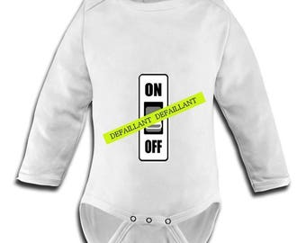 fitted body suit with image switch defective child humor