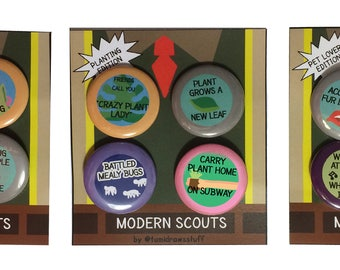 Modern Scout Merit Badges Pins Buttons Planting Pets Millenial