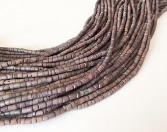 "2-3mm Coconut Heishi, Coco Heishi, Natural Wood Beads, Coconut Shell Heishi  Gray  24"" strand"