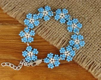 Beaded forget-me-nots bracelet Strap bracelet Beaded flower bracelet Floral bracelet Seed bead forget-me-nots jewelry Seed bead bracelet