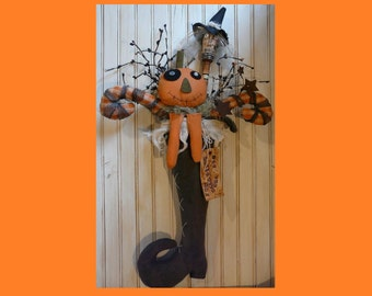 Primitive Halloween Witch Stocking Pattern - pdf pumpkin guy HAG