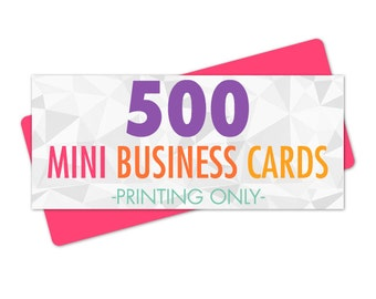 Mini Business Card Printing 500 Cards Full Color Glossy or Matte Rounded Corners