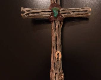 Rustic Southwest Cholla Cross with Turquoise