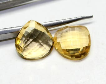Natural AAA+ Citrine Faceted Heart Shape Briolette Checker Cut, Size- 12X12X5 MM, 2 PCs Citrine Briolette Hearts.