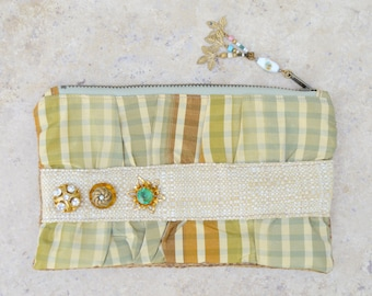 Handmade Bag . Purse . Clutch . Glass . Old Buttons . Photo