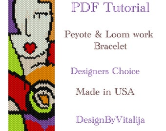 Instant Download Beading Pattern Peyote stitch Loom work Pattern Picasso Pattern Seed Bead Cuff