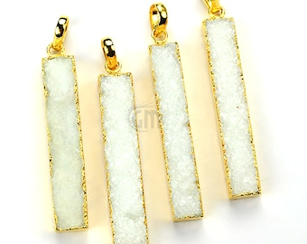 1 Pc of White Druzy Bar Necklace Pendant 22k Gold Electroplated, 43x7mm Gemstone Druzy Bar Charms Necklace Pendant (WZ-50010)