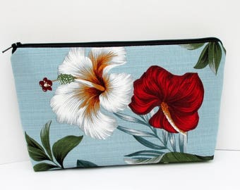 Make-up Bag, Cosmetic Zipper Pouch, Retro Hawaiian Hibiscus on Pale Blue, Barkcloth