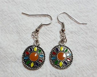 Colorful Circle Earrings in Silvertone