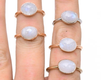 RAINBOW MOONSTONE Ring // Raw Moonstone Ring  / Gold Moonstone Ring/ Silver Moonstone ring / copper Moonstone ring / Rainbow Moonstone