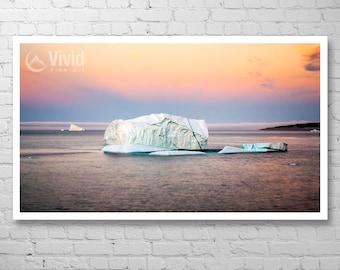 Art print, iceberg wall art, atlantic ocean, cape spear, framed iceberg print, sunset waters, 8x10 matted picture, 16x28 12x20 8x14