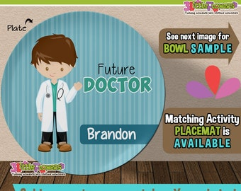 Future Doctor Plate and Bowl Set - Personalized Plastic Children Plate Cereal Bowl - CHOOSE HAIR SKIN color - Career Plate Set