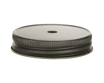 Pewter Mason Jar Lid with Straw Hole for Regular Mouth Mason Jars