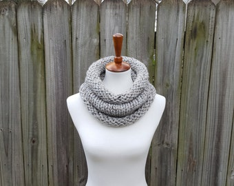 Knit Infinity Scarf, Chunky Knit Scarf, Knit Cowl, Knit Snood, The Birch Cowl, Small - Gray Tweed