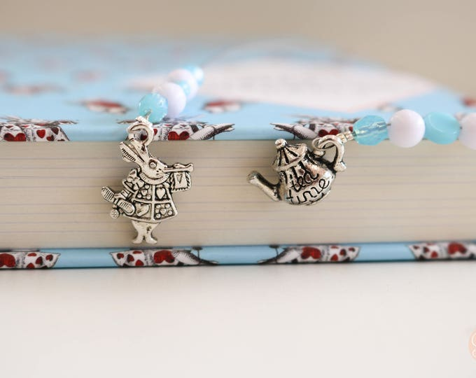 Alice in Wonderland Themed Beaded Bookmark/ Book Thong.