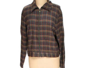 Vintage Jay Peters Women's Plaid Jacket 90's Style Size L Large 100% Acrylic