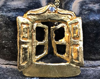 Hanging window. Gold and diamond bath window pendant. Small window gold and diamond bath necklace.