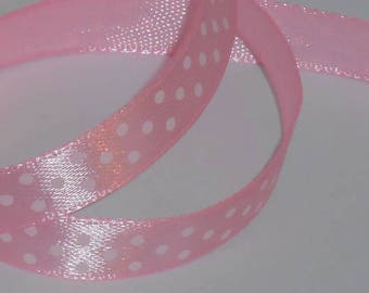 5 m ruban satin rose à pois blanc largeur 9 / 10 mm