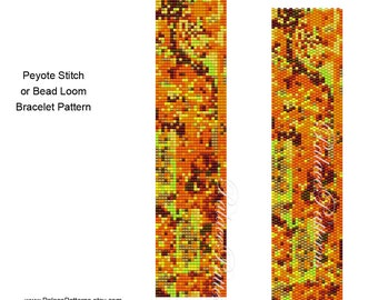 Fall Delica Bracelet Pattern - Peyote Stitch and Bead Loom Bracelet Pattern