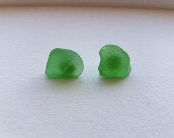 Green Sea Glass Earrings Stud Simple Beach Glass Prince Edward Island