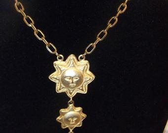 Triple Sun Pendant Long Necklace, Gold Tone Chain Neckalce