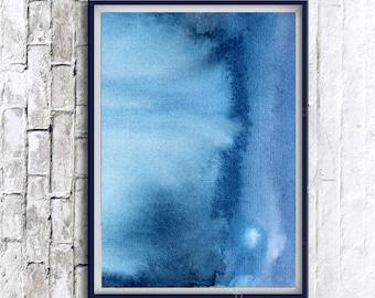 Watercolor Print, Indigo Print, Abstract Art, Modern Abstract Art, Indigo Wall Art, Modern Printable Art, Blue Prints, Printable Watercolor