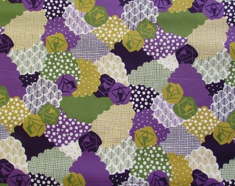 Flower Patch Green & Purple from the Irome Collection by Kokka - Modern Cotton Fabric