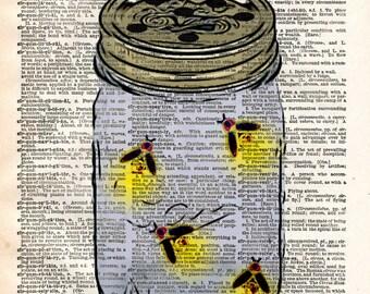 Firefly jar, fireflies in mason jar, childrens art vintage dictionary art print