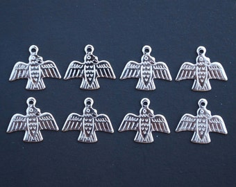 Vintage Lot of 8 Thunder Bird or Eagle Silver Toned Charm Pendants New Old Stock