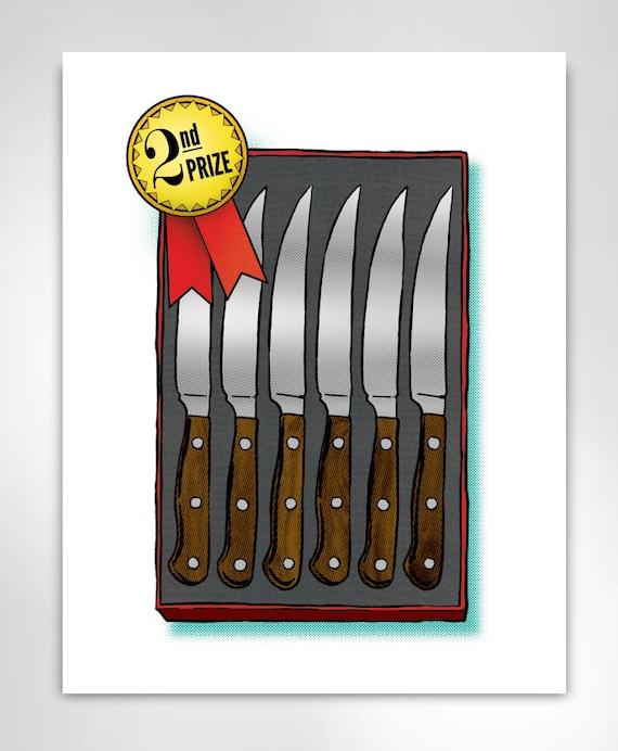 STEAK KNIVES 2nd PRIZE Art Print by Rob Ozborne