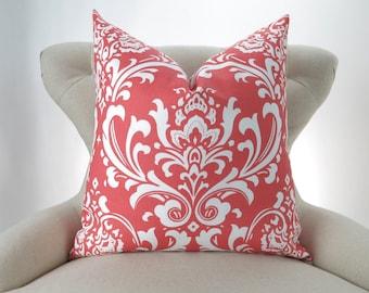 Coral Throw Pillow Cover, Damask Pattern -MANY SIZES- ozborne decorative throw euro sham custom cushion modern contemporary premier prints