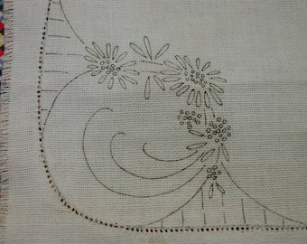 Lovely Vintage Linen with 3 Doilies Stamped for Embroidery