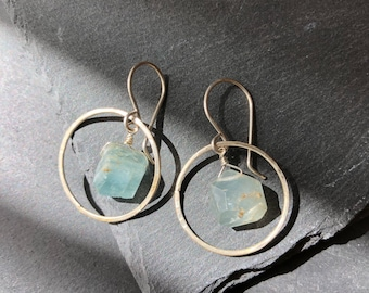 Opaque, faceted aquamarine crystal earrings