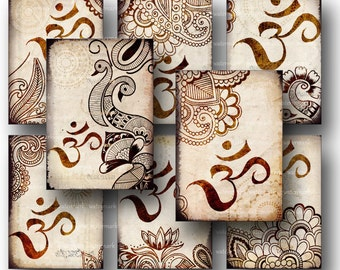 Oriental, Henna drawing, Om,Mehndi, Tags -  Digital Collage Sheet, Download and Print Jpeg Clip Art Images 10