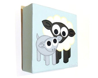 Cute Sheep and Lamb acrylic painting - original artwork on small square canvas, nursery art of fluffy white ewe with grey baby