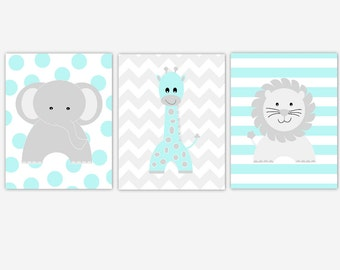 Baby Boy Nursery Art Blue Aqua Gray Elephant Giraffe Lion Polka Dots Safari Jungle Baby Nursery Decor Animals Boy Nursery Prints Wall Decor
