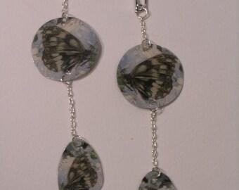 Butterfly earrings, long, teardrop, rectangular
