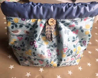 Clasp toiletry/makeup/cosmetic flexible blue floral bird theme