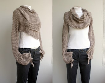 Hand Knit Milky Brown Long Sleeves Wrap Bolero Shrug OverSized  Clothing Gift  Gift For Her Christmas gift Outdoors Gift Knit Accesssories