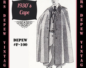 Menswear Vintage Sewing Pattern 1930's Mens' or Ladies' Cape in Any Size Depew F-100 - Plus Size Included -INSTANT DOWNLOAD-