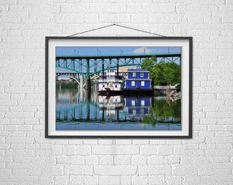 The Star of Knoxville, Knoxville Riverwalk, Gay Street Bridge, Photo of Paddle Boat, Made in Tennessee, The Scruffy City, Riverwalk, Art